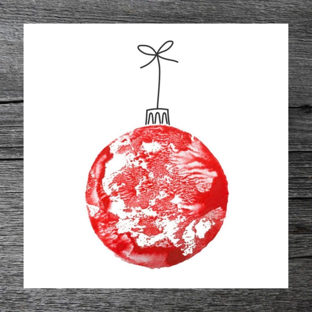 Joulupallo -kortti, punainen