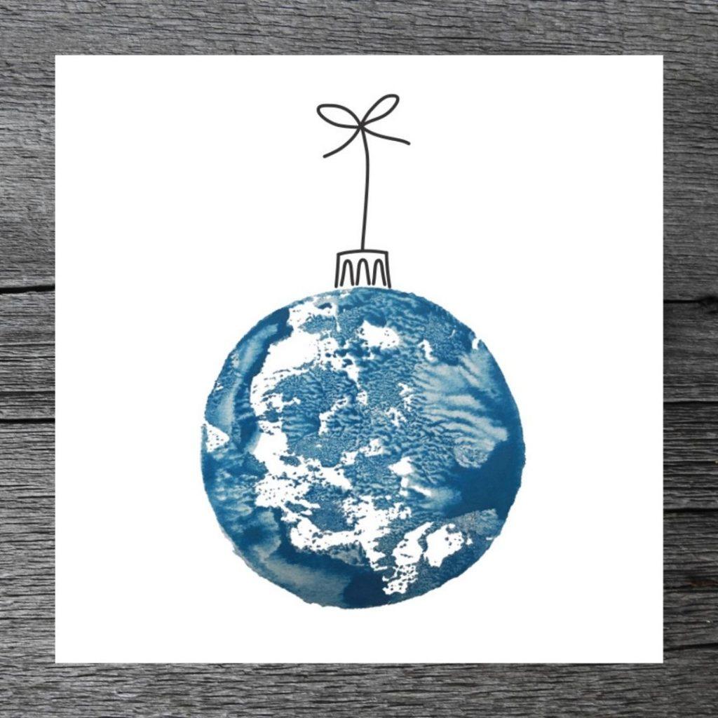 Joulupallo -kortti, sininen